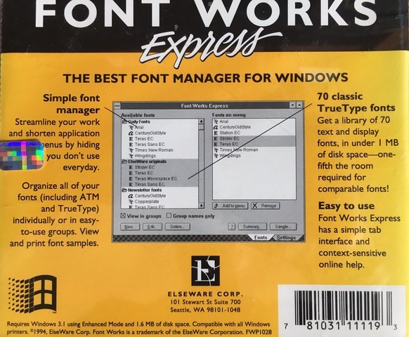 FontWorks Express back